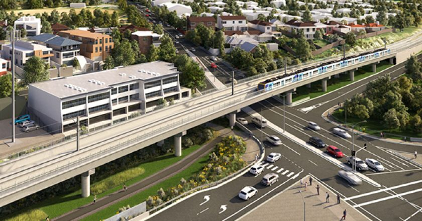 Artist's impression of the Toorak Road Skyrail. Image: LXRA.