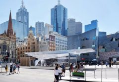 Piling works are underway at Federation Square in Melbourne to strengthen ground before excavation starts on the Town Hall Station as part of the Metro Tunnel Project.