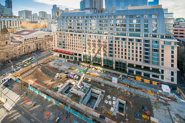 Excavations works are now complete on the Metro Tunnel Project's new State Library Station in Melbourne, with construction works now underway.