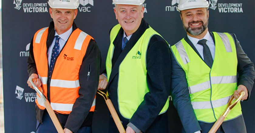The first sod has been turned on a $300 million luxury residential tower in Melbourne's Yarra's Edge precinct, in Fishermans bend.