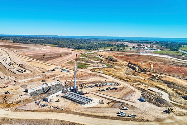 The Western Sydney International Airport project has hit a major milestone, with contractors moving one million cubic metres of earth. Badgerys Creek Road.