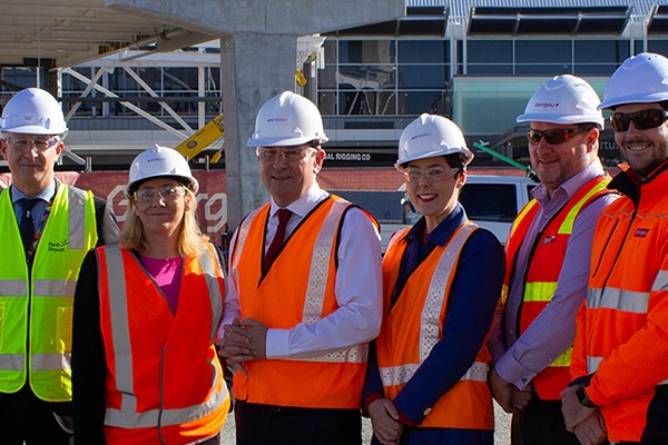 Cranes are in place to lift the first and largest component of Perth Airport's $31 million Skybridge project.