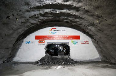 The first major breakthrough on the Melbourne Tunnel Project  has occurred as three roadheaders meet 30 metres deep beneath the city above.