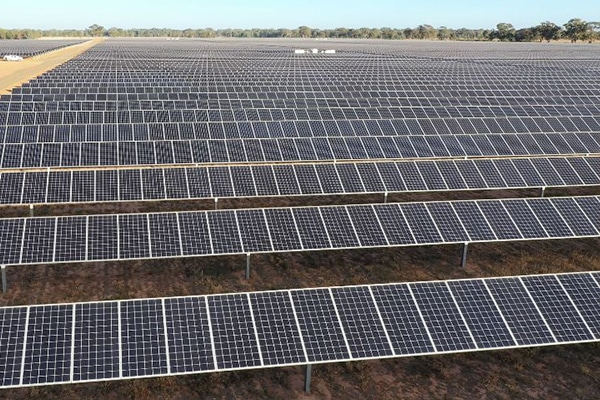 Melbourne's tram network, Laverton Steelworks and more than 48,000 homes will be powered by solar power, as a recently built $198 million solar farm comes online.