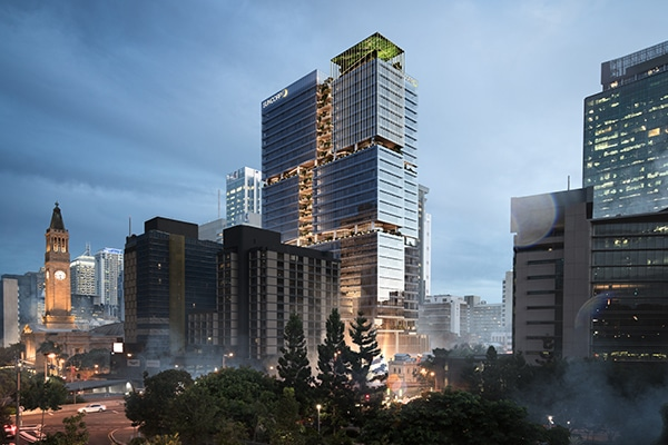 Construction has commenced to build one of Australia's smartest buildings, a 35-storey office building in Brisbane for Suncorp, 80 Ann Street.