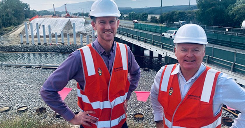 Concrete foundations are in place to help build a new bridge as part of the $104 million Bruce Highway upgrade though Cairns' southern suburbs, in Queensland.