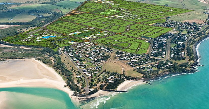 The search is on for construction companies to build up to 3200 homes for a $2 billion seaside community near Bundaberg, Queensland.