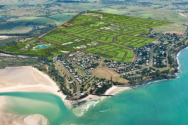 The searchis on for construction companies to build up to 3200 homes for a $2 billion seaside community near Bundaberg, Queensland.