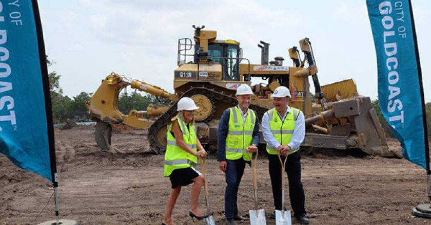 Construction has begun on the $70 million Pimpama Sports Hub project on the Gold Coast, following a sod-turning ceremony.