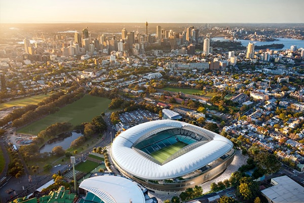 A contractor has been chosen to build the new $828 million Sydney Football Stadium, which aims to be ready in time for the 2022 NRL Grand Final.
