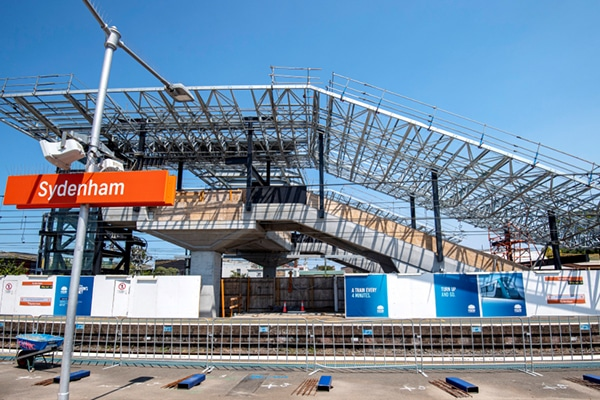 Five massive roof canopies have been lifted into place at Sydenham Station, as part of a major construction operations for the Sydney Metro project.