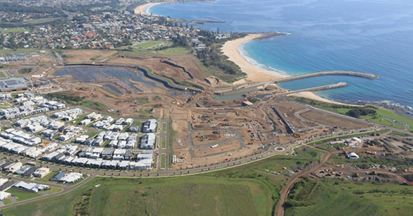 Piling works are underway on the outer harbour of the Shellharbour Marina at The Waterfront in New South Wales.