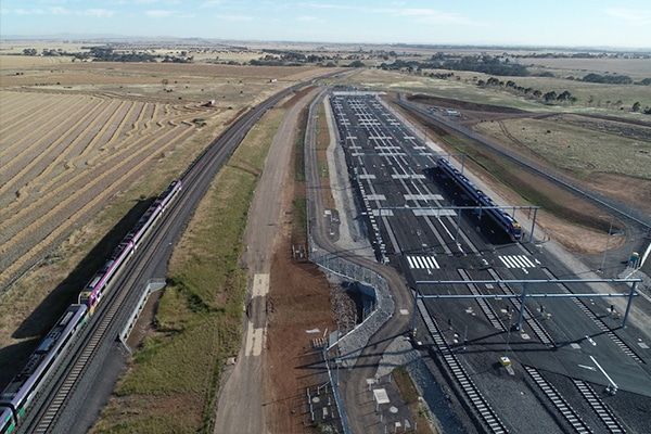 Construction is now complete on a new storage facility for Victoria's regional train network in the Melbourne suburb of Wyndham Vale on the Geleong Line.
