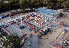 Construction on the Pimpama Sports Hub has reached a milestone with the erection of the first spliced truss, which spans 37 metres.