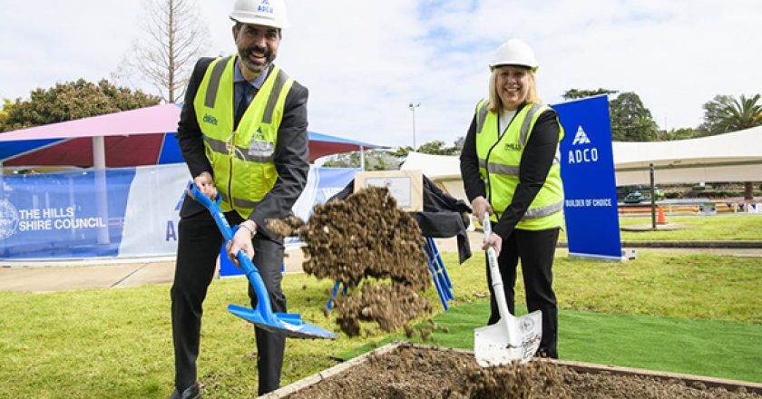 The first sod has been turned at the site of the future $55 million Waves Aquatic Centre site in Sydney's north-west suburb of Baulkham Hills.