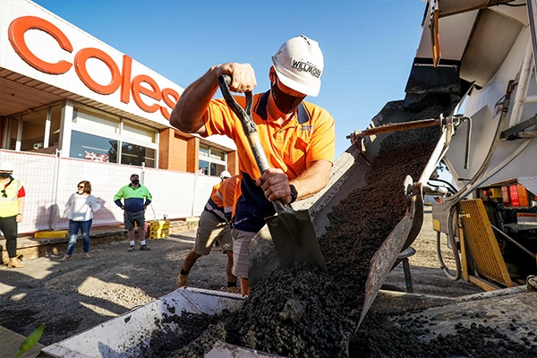 Supermarket company Coles has partnered with recycling organisations RED Group and Replas to install a concrete slab carpark made partly out of soft plastics.