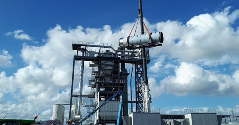 Construction has reached a milestone on a new asphalt plant at Downer's Brendale Sustainable Road Resource Centre, Queensland.