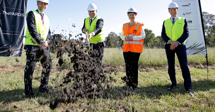 The first sod has been turned on a billion-dollar industrial and logistics community joint venture at Kemps Creek in Western Sydney, called the YARDS.