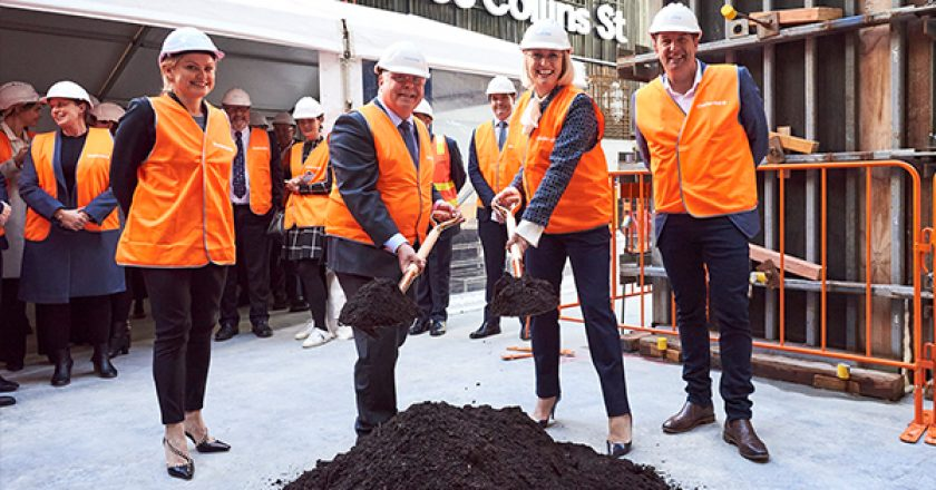 Construction has officially begun on Charter Hall's $1.5 billion 555 Collins Street precinct, following the ceremonial sod turning ceremony.