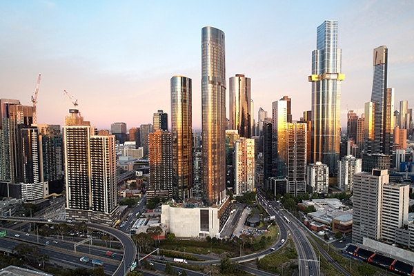 Multiplex has completed stage one of the $2.8 billion Melbourne Square precinct, including two towers that measure in at 236.7 metres and 184.3 metres tall.