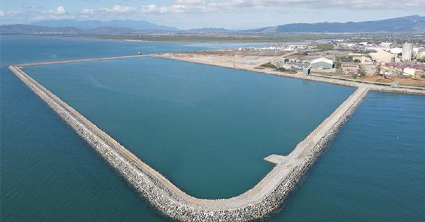 A 2.2-kilometre rock wall has been built for the $232 million Port of Townsville Channel Upgrade, which will help allow larger ships access to the port.